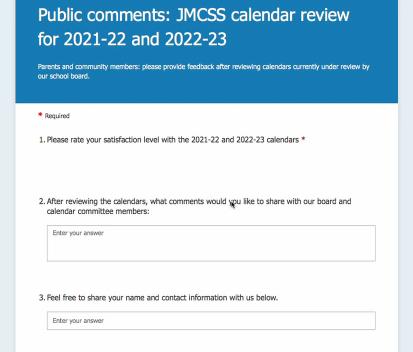 Jmcss School Calendar 2021 JMCSS opens calendar for comments, provides update on new schools