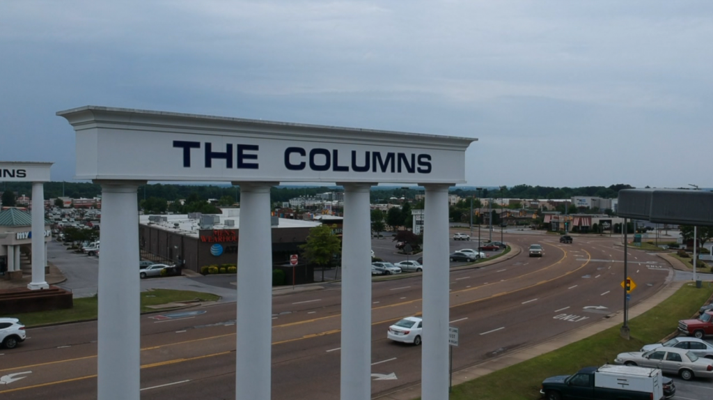 Vann Drive Aerial With Colums Sign